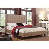 "Home Life Premiere Classics Cloth Light Brown Linen 51"" Tall Headboard Platform Bed with Slats King - Complete Bed 5 Year Warranty Included 007"