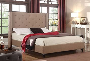 Home Life Premiere Classics Cloth Light Brown Linen 51u0026quot; Tall Headboard  Platform Bed With Slats