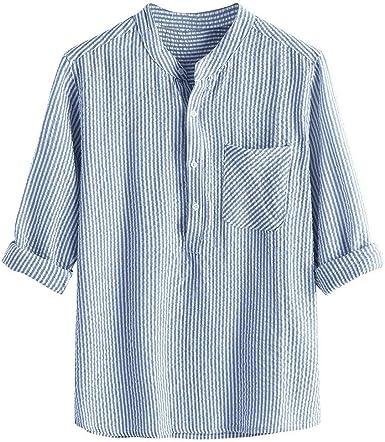 Hombre Camisas de Algodón y Lino de Manga Largas Camisetas de Rayas Retro Casual Slim fit Camisa de Botones Cuello Mao Suelta Transpirable Blusa de Bolsillo Tallas Grandes Top de Trabajo Gusspower: