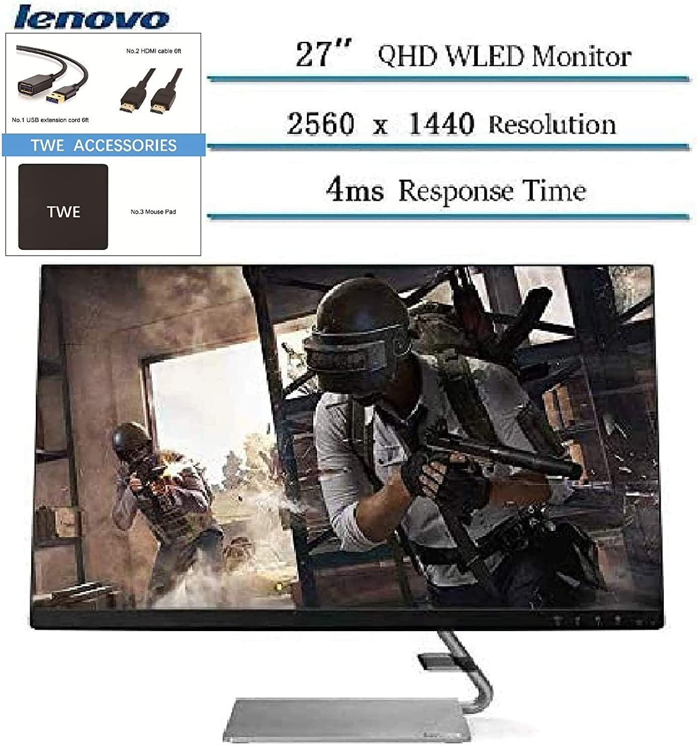 "Lenovo 27"" QHD 2560 x 1440 LED IPS FreeSync Gaming Monitor, 3W Built-in Speakers, 4ms Response Time, 300 cd/m², HDMI, 1000:1 Contrast Ratio, TWE Accessory Bundle"