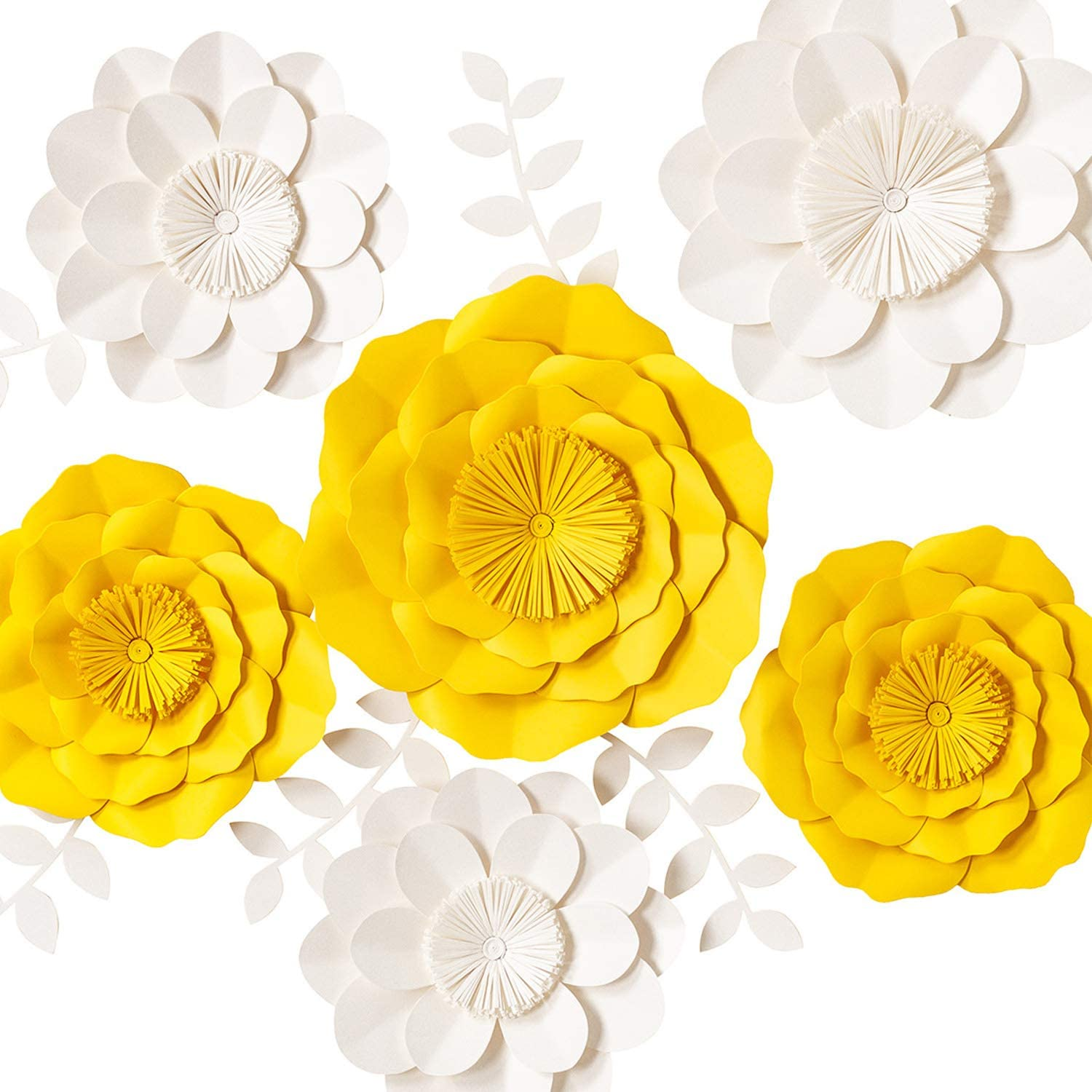 KEY SPRING 3D Paper Flower Decorations, Giant Paper Flowers, Large Handcrafted Paper Flowers (Yellow, White Set of 6) for Wedding Backdrop, Bridal Shower, Table Centerpieces, Nursery Wall Decor