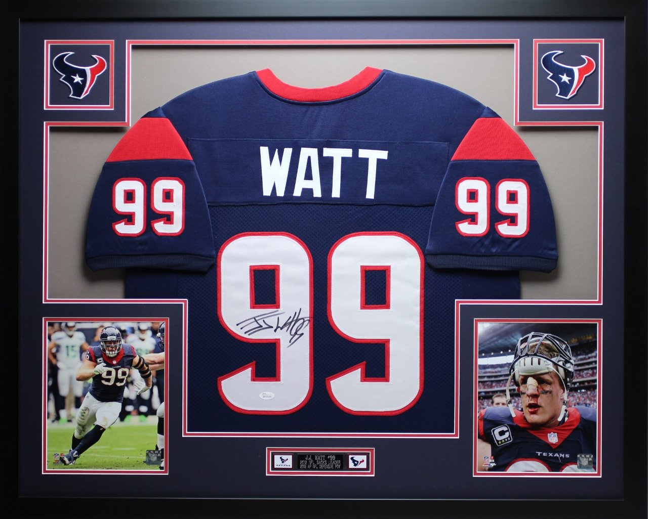 sports shoes 1f550 7e1f2 JJ Watt Autographed Blue Texans Jersey - Beautifully Matted ...