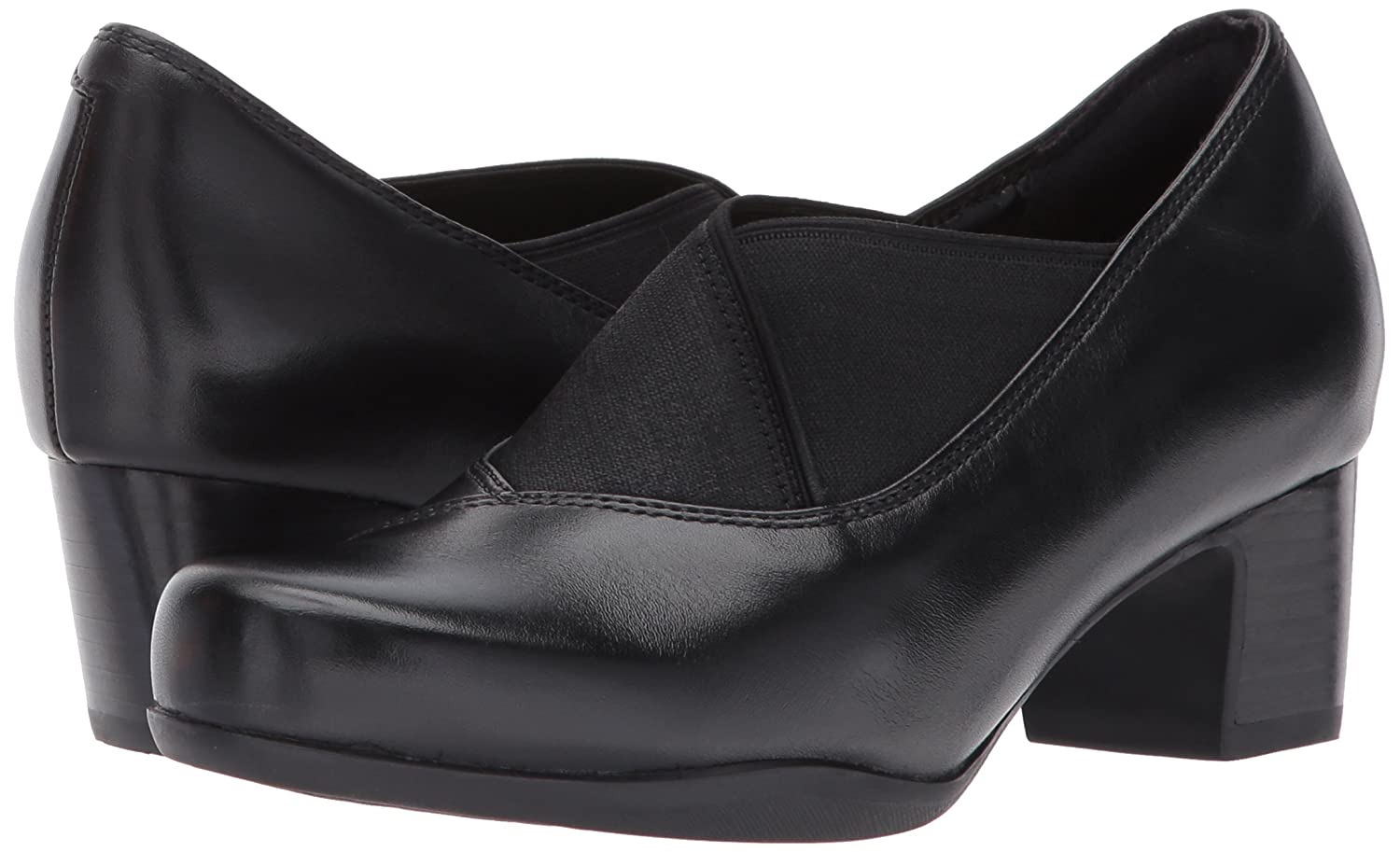 CLARKS Women's Rosalyn Olivia Slip-on Loafer B01MXXJWII 6.5 2W US|Black Combi