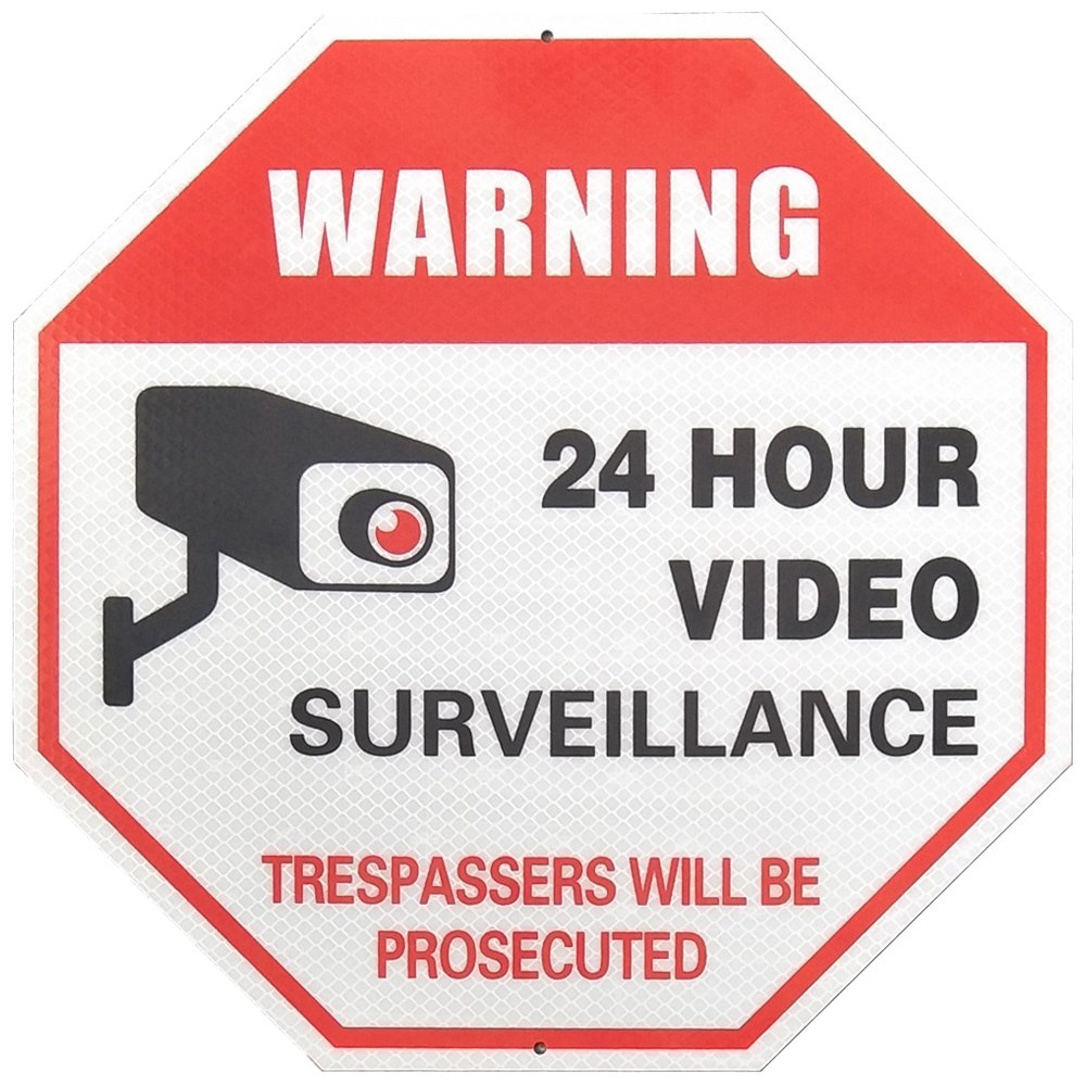 MiraCase Video Surveillance Sign | Super Reflective Rust Free Aluminum No Trespassing Warning Sign | Large Octagon 24 Hour Security Alert for Home Business Premises 12 x 12 Red