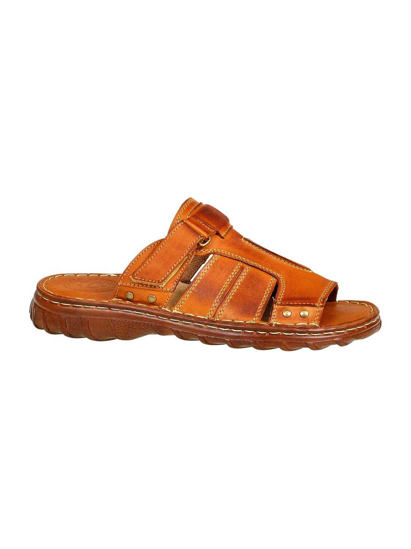 Herren Bequeme Sandalen Schuhe Mit Der Orthopadischen Einlage Aus Echtem Buffelleder Hausschuhe Modell 875  43 EU Kognak