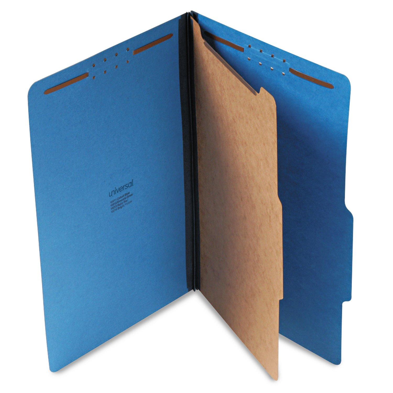 Universal Pressboard Classification Folders, Legal, Four-Section, Cobalt Blue, 10/Box (10211) by Universal