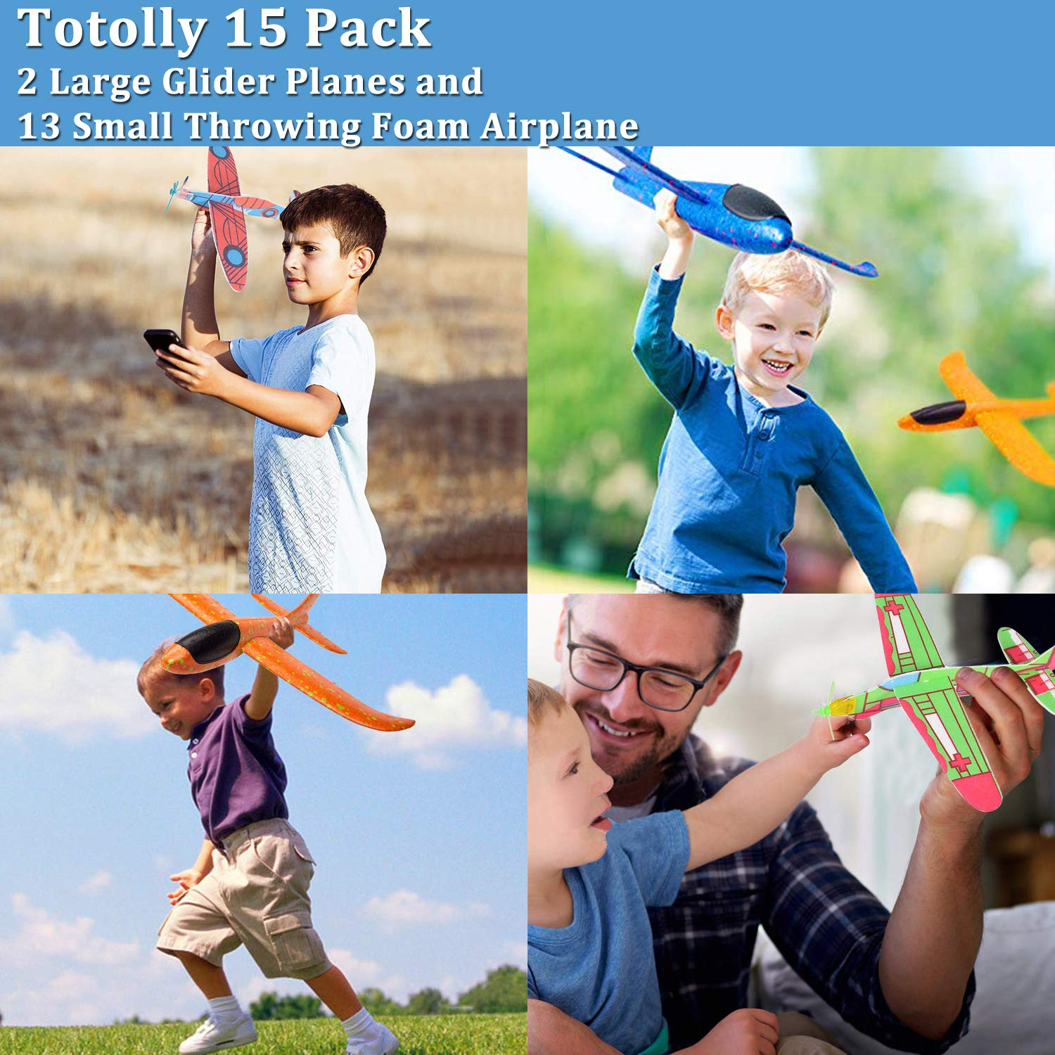 12.5'' Glider Planes,Throwing Foam Airplane ,Dual Flight Mode,Flying Aircraft, Airplane Toy for Kids 3 4 5 6 7 Years Old,Outdoor Sport Game Toys, Boys Girls Flying Party Favors Birthday Gifts by Jupitaz (Image #4)