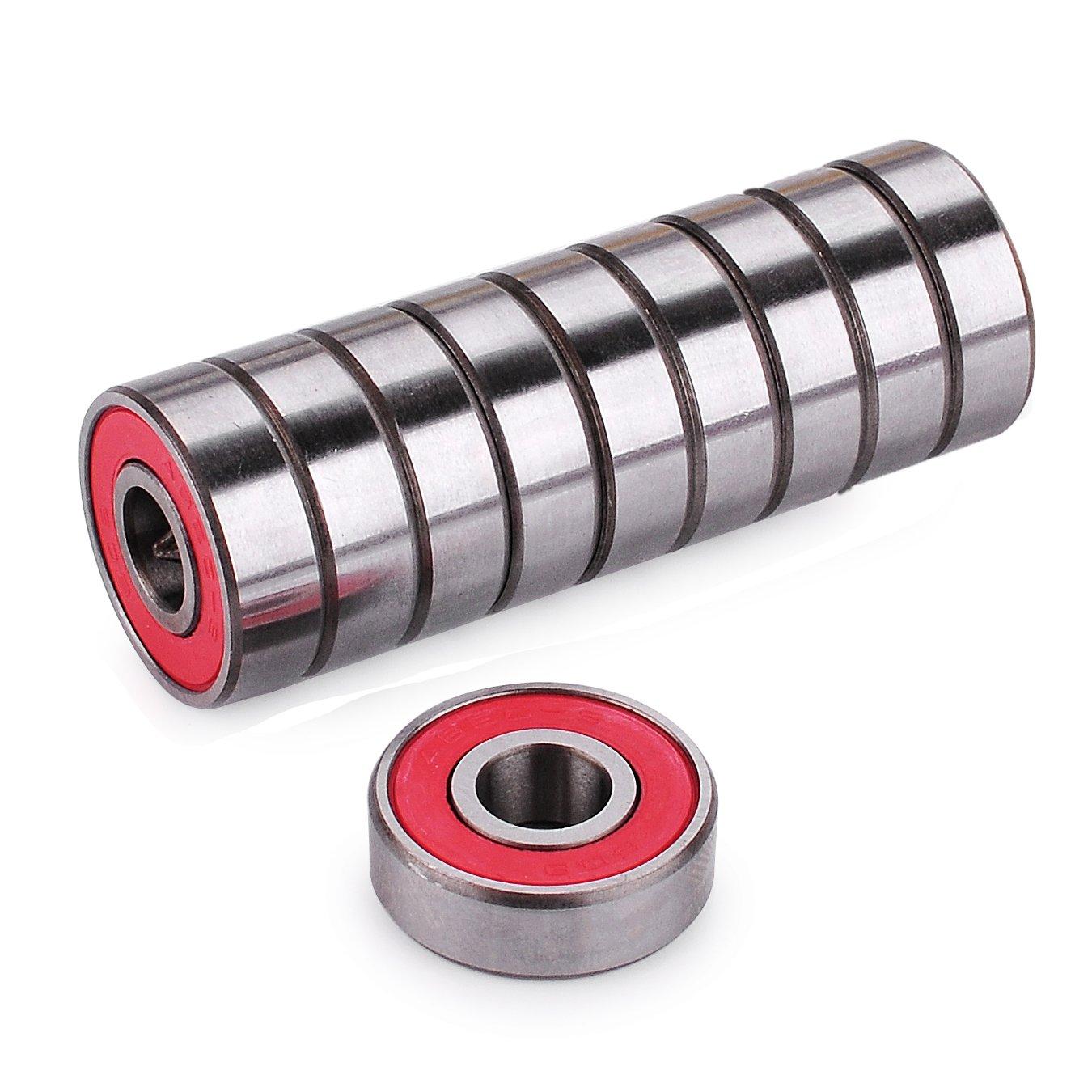 Cuscinetti a sfera di precisione 608 RS Abec 9per monopattino, skateboard e longboard (confezione da 10 pezzi), Black Z-FIRST