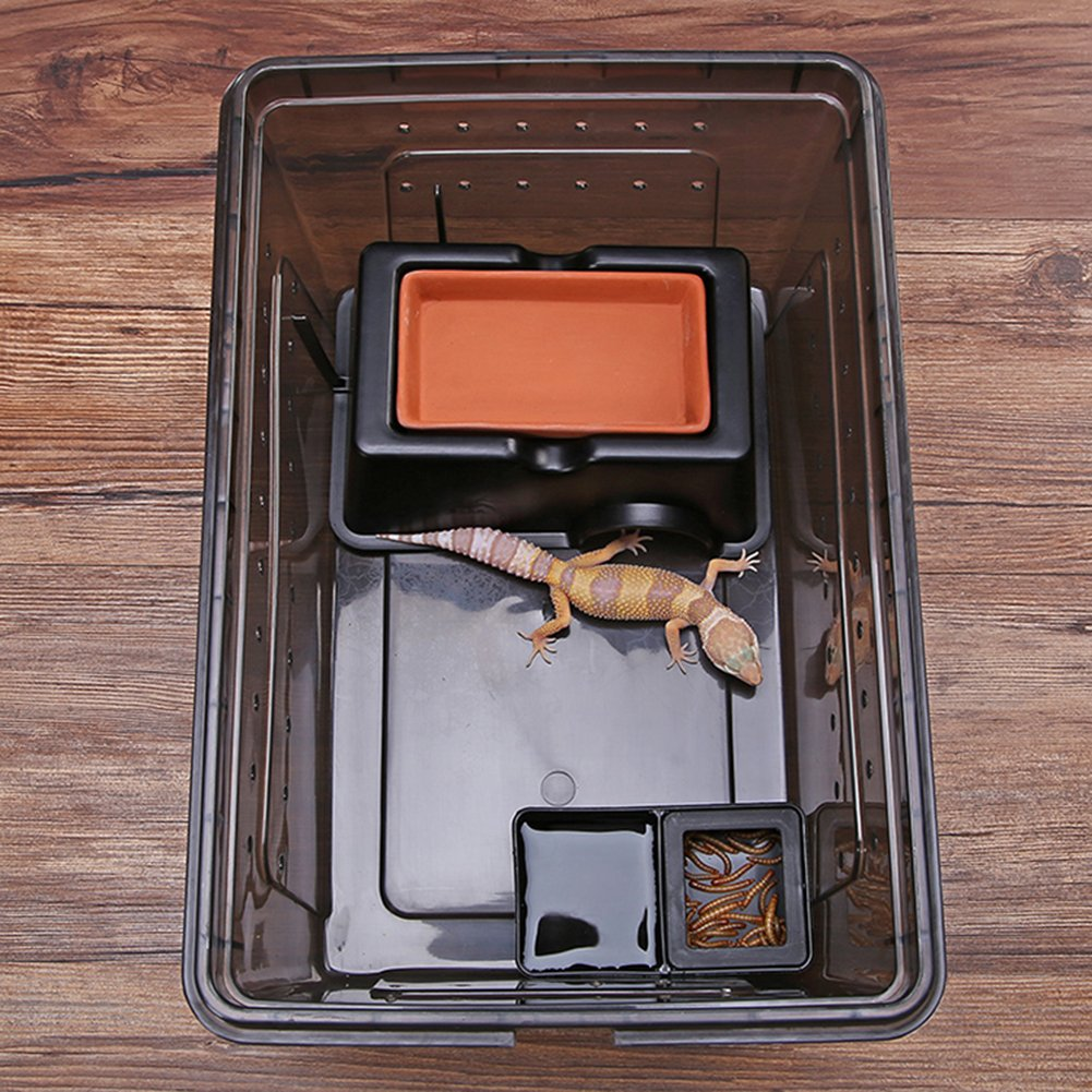 Frjjthchy Reptile Hide Cave Box Lizards Hideout Caves Hideaway for Small Animal Black by Frjjthchy (Image #4)