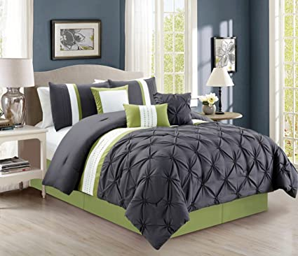 Modern 7 Piece Bedding Grey Sage Green White Stripe Pinch Pleat King Comforter Set With Accent Pillows