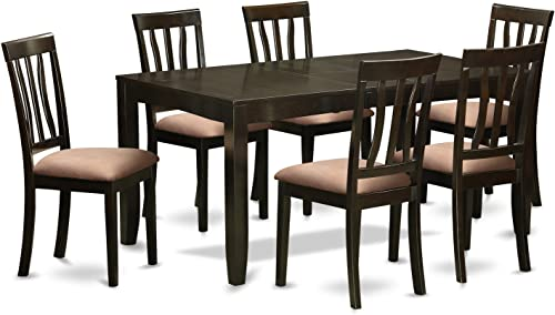 LYAN7-CAP-C 7 Pc formal Dining room set-Kitchen Tables with Leaf 6 Dining Chairs