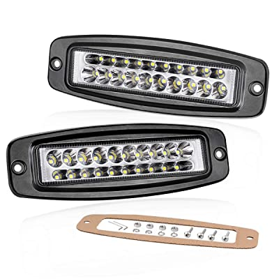 Flush Mount LED Pods 7 Inch, Swatow Industries 2PCS 80W Slim Dual Row LED Work Lights Spot LED Light Bar Off Road LED Driving Lights for Truck Offroad SUV UTV ATV Boat: Automotive