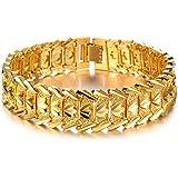 OPK Bracelet plaqué or 18 carats pour homme 21 cm