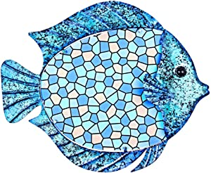 Tfro & Cile Metal Fish Wall Decor Bathroom Hanging Glass Art Outdoor Garden Ocean Decoration for Pool Home