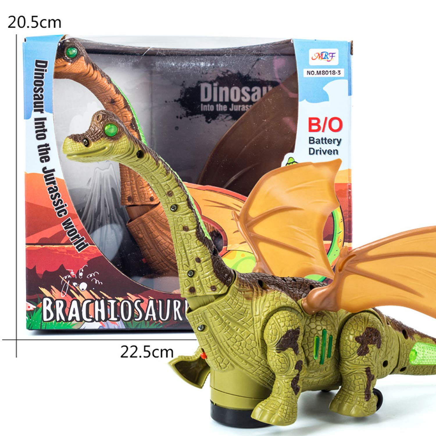 Mrocioa Electronic Dinosaur Toys Walking with Light up&Sound,Big Dino Action Figure 40cm Long for Toddler Boys,Shaking its Tail and Long Neck (Green) by Mrocioa (Image #8)