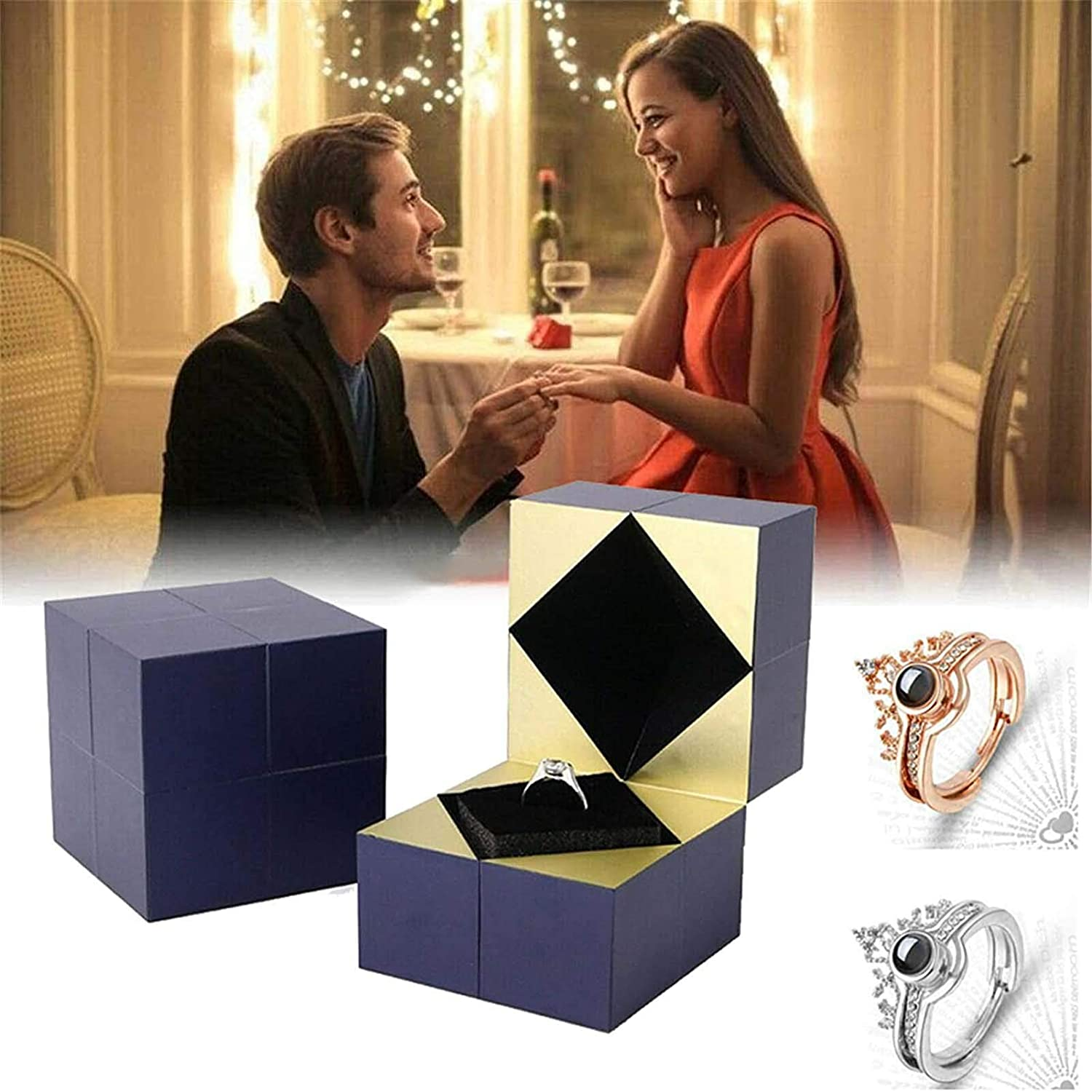 Oro Juyuntong 3Pcs Creative Ring Bracelet and Puzzle Jewelry Box I Love You Projection Ring in 100 Languages Magic Puzzle Ring Box Rotating Storage Box Jewelry Gift for Girlfriend