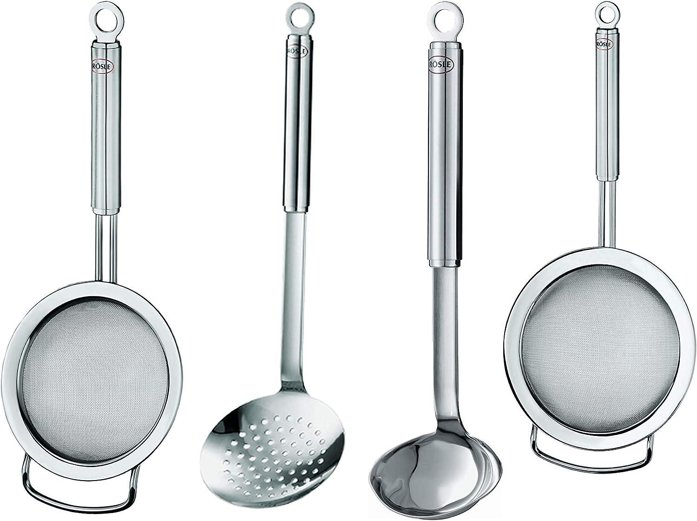 Rösle Stainless Steel Kitchen Utensils Set: Round Handle Tea Strainer Fine Mesh 7.8-Inch, Round Handle Skimmer 14.6-Inch, Round Handle Sauce Ladle 10.5-Inch, Round Handle Strainer Fine Mesh 16.5-Inch