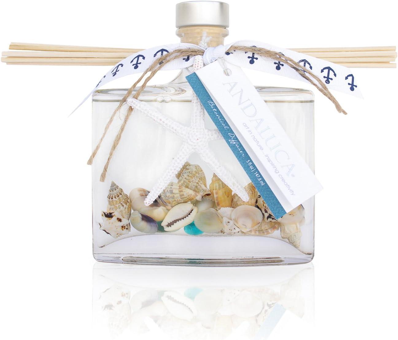 Andaluca Pacific Vanilla Isles Botanical Reed Diffuser | 5.5 fl oz | Aromas of Vanilla, Sandalwood and Sea Salt