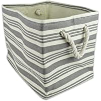 DII Woven Paper Storage Bin/Basket Collapsible & Convenient with Durable Cotton Handles Small Rectangle Urban Gray