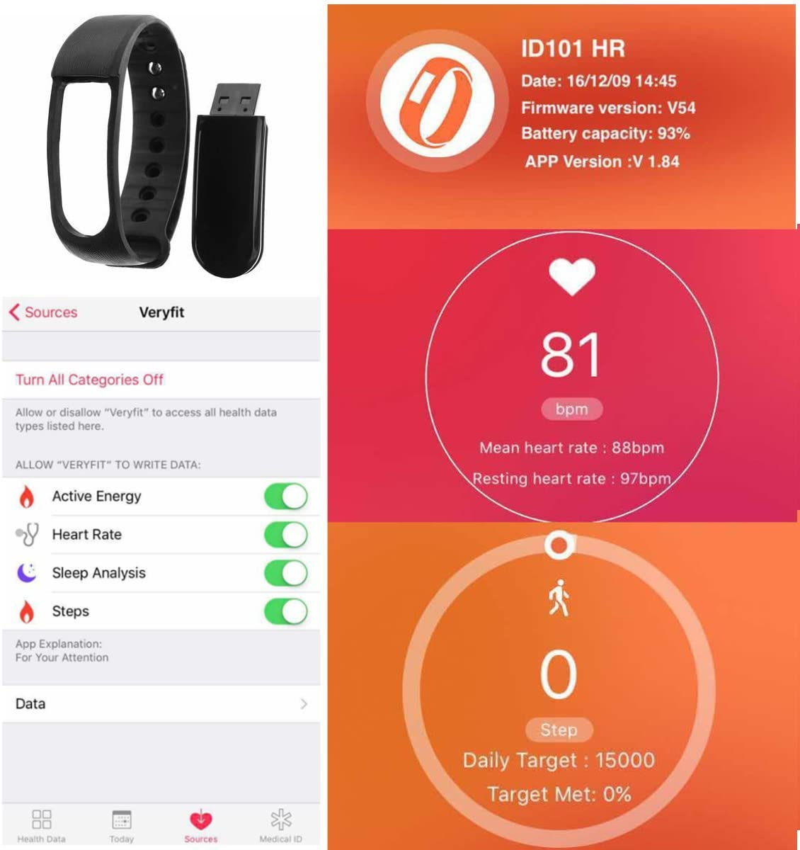 Fitness Heart Rate Tracker,CAMTOA ID101HR Wireless Fitness Monitor ...