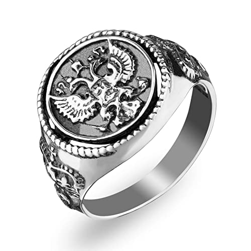 Amazon com: 925 Sterling Silver Double Headed Eagle Ring