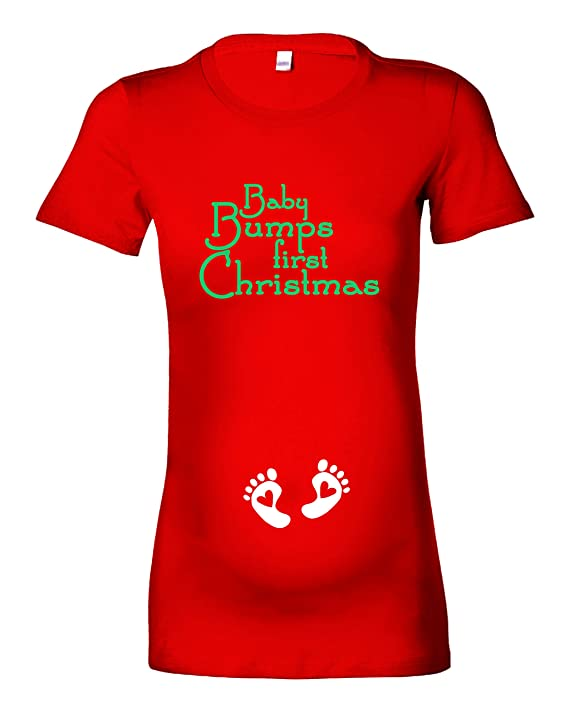 286ee6a870189 Beyondsome Women's 'Baby Bumps First Christmas' Maternity T-Shirt:  Amazon.co.uk: Clothing