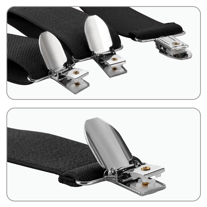Men Suspenders 3 Clips Genuine Leather Braces Y Back Heavy Duty