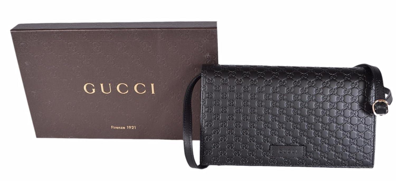 03ba2bea51d Amazon.com  Gucci Women s Leather Micro GG Guccissima Mini Crossbody Wallet  Bag Purse (Black)  Shoes