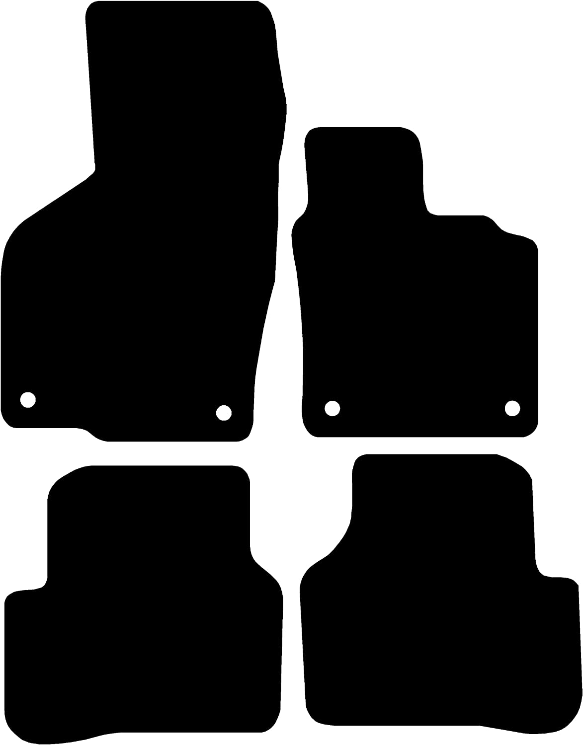 2005-2012 5mm Rubber Connected Essentials CEM550 Rubber Mats Round Clips for Passat//Passat CC Black with Black Trim