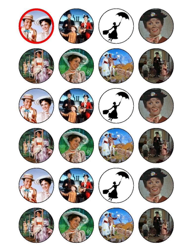 24 x Mary Poppins Edible Cupcake Cake Toppers
