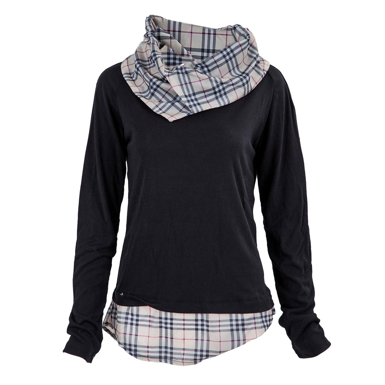 SODIAL (R) Nueva moda delgado encaja contraste de mosaico del collar Prendas de punto ropa de hombre Collar a cuadros Negro - XL