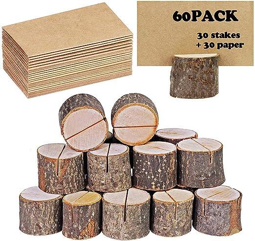 Colocar titulares de tarjetas, Tarjetero de madera rústica con ...