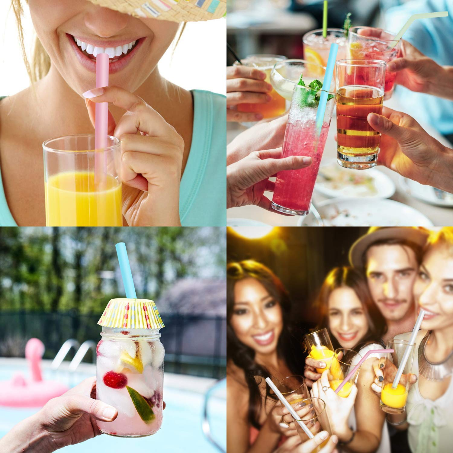 PHYLES Reusable Silicone Straws, 8 Pack Colourful Reusable Drinking Straws, Eco Friendly Alternative to Plastic, BPA Free, Dishwasher Safe, with 2 Cleaning Brushes