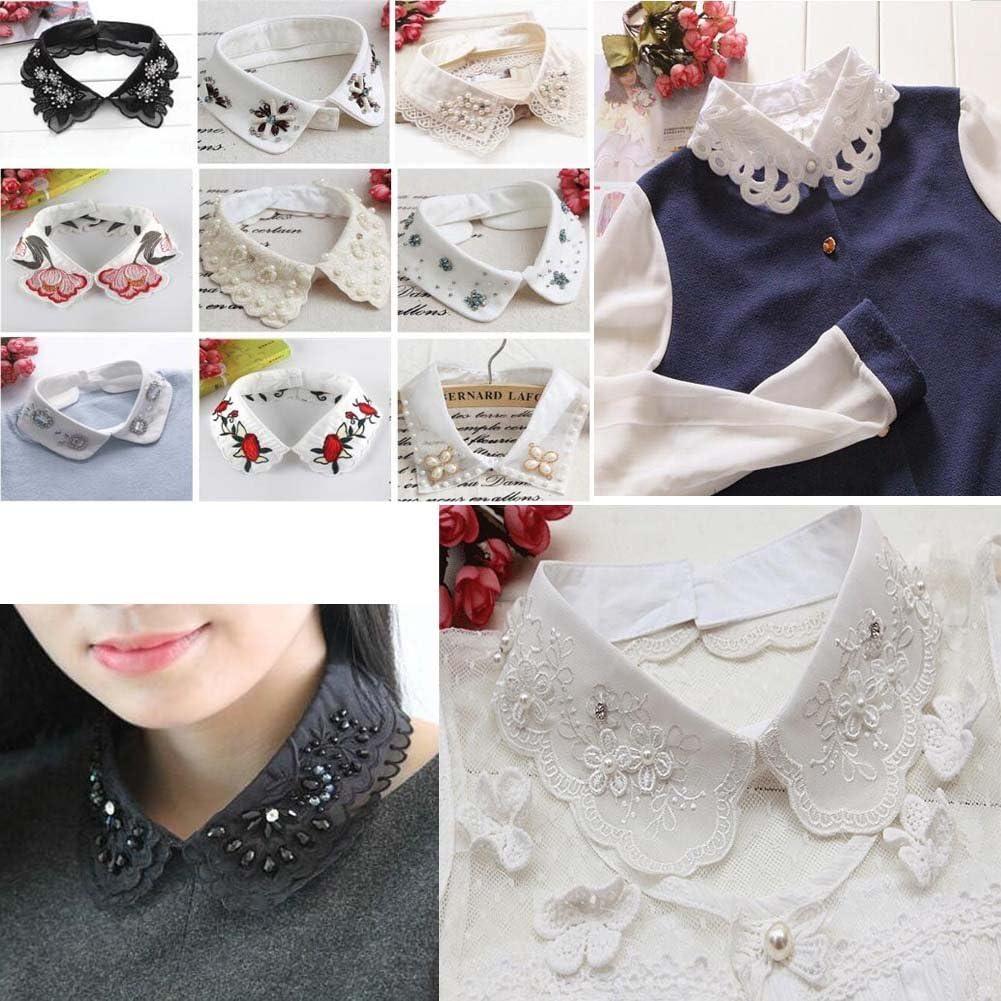 Black Temptation Fashion Fake Collar Detachable Blouse For Womens//Elegant with Rhinestone A2