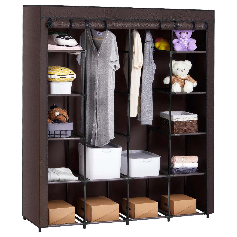 AOOU Closet Organizer Wardrobe Closet Portable Closet, Closet Organizers and Storage with Non-Woven Fabricb, Easy to Assemble, 56 x 18.5 x 66 inches, Black