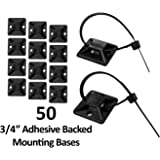 "3/4"" Adhesive Backed Mounting Bases - 50 Pieces - Color: Black"