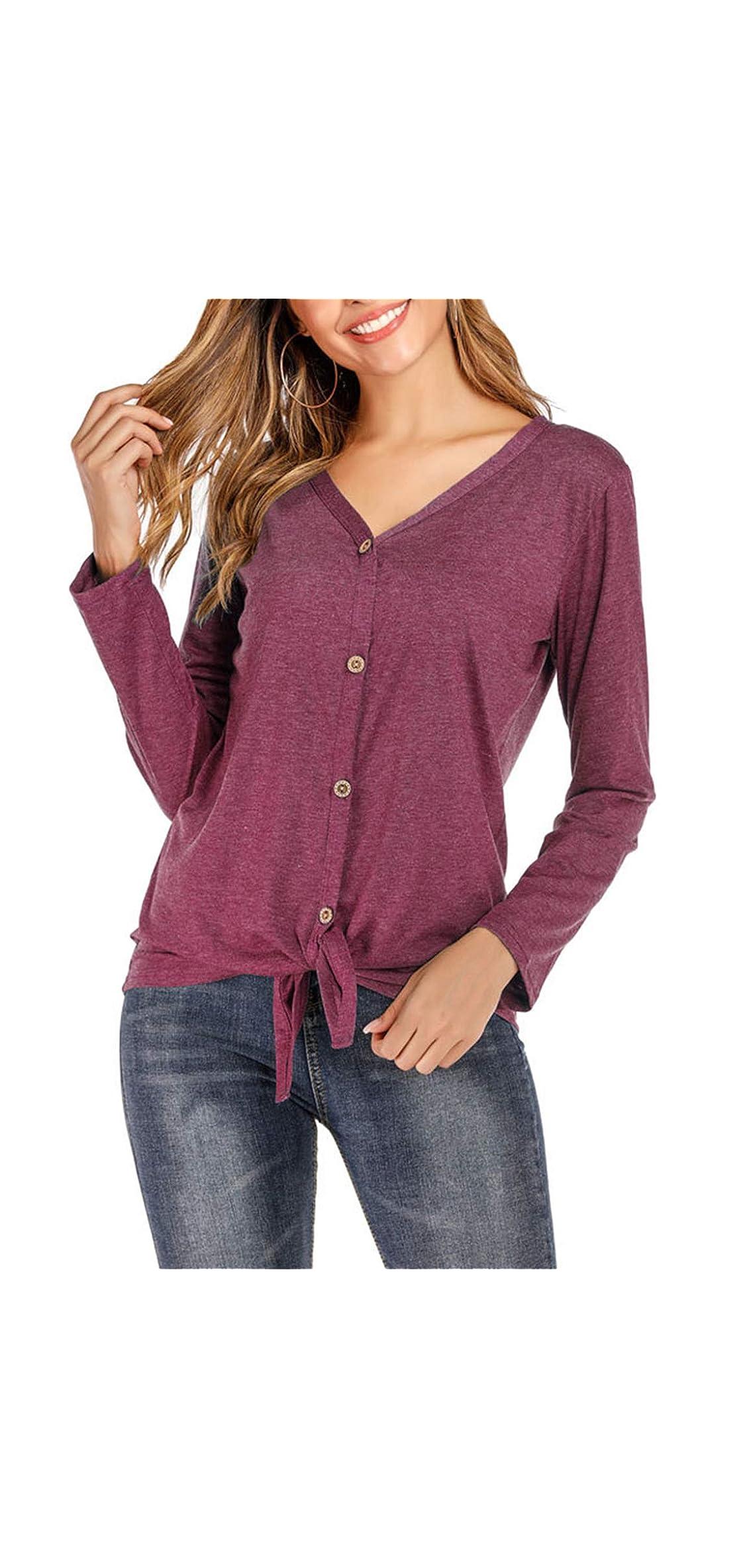 Button Down Shirts For Women - V Neck Ruffle Hem Pullover Long
