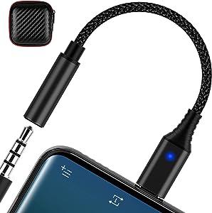 USB C to 3.5mm Audio Adapter, Jiunai USB C to 3.5mm Type C to Headphone Jack Female Aux Audio Nylon Earphone Dongle with Indicator Light for iPad Pro iPad Air Galaxy S20 FE Note 20 Ultra OnePlus 9 Pro