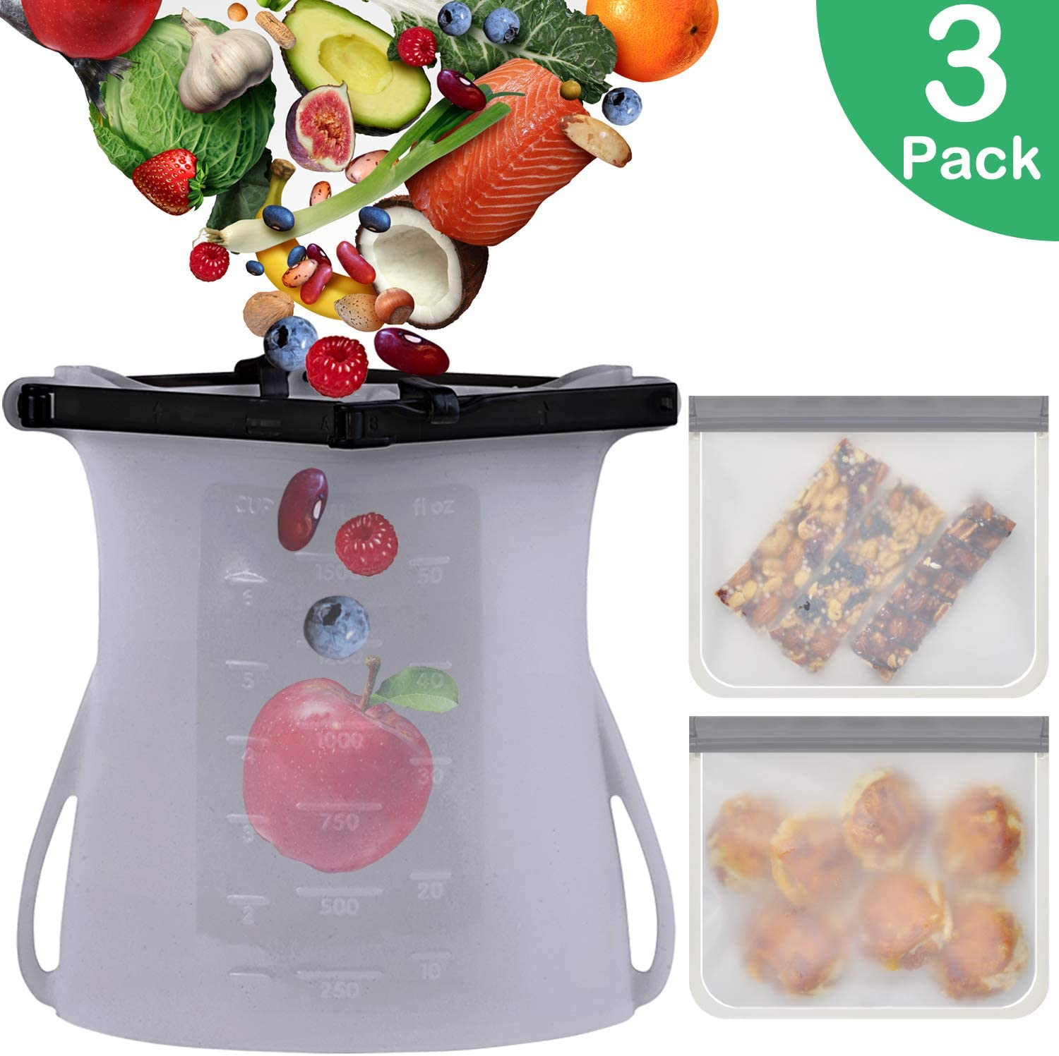 Reusable Food Storage Bags,3 Pack Airtight Freezer Bags(1 Reusable Silicone Bags + 2 Reusable Sandwich&Snack Bags) Best for Preserving and Cooking (3 Pack)