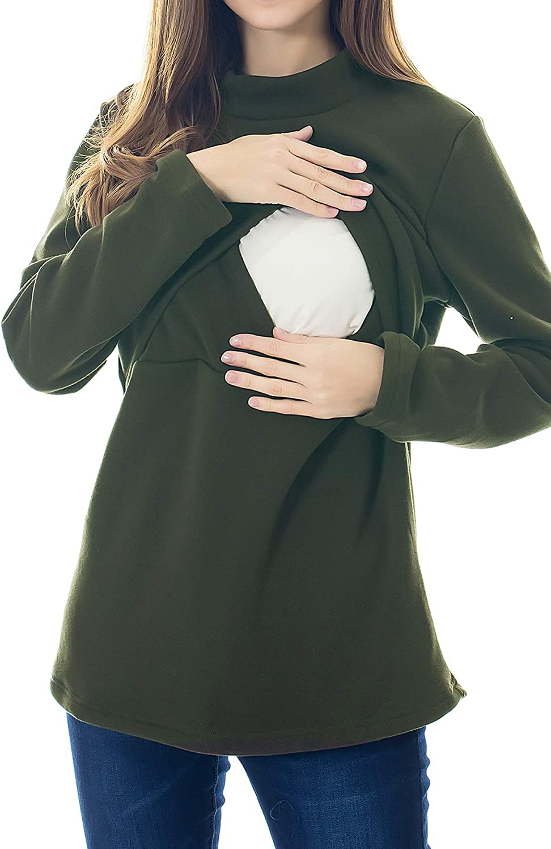 Smallshow Donna Allattamento Top Maniche Lunghe Inverno Blusa Infermieristica Top