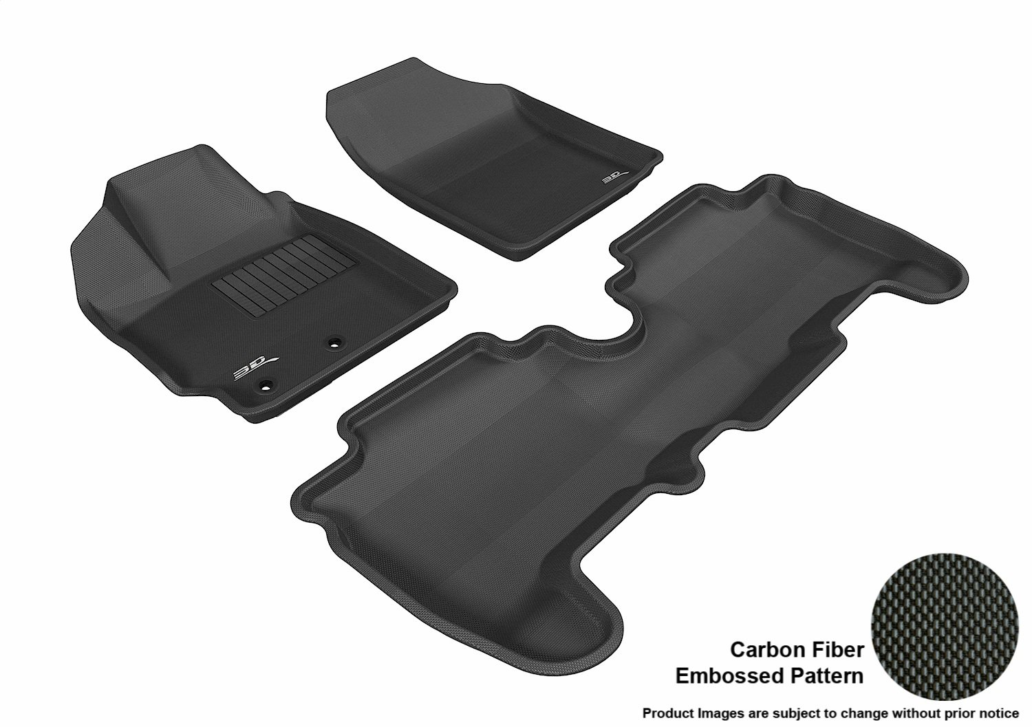 Black 3D MAXpider Complete Set Custom Fit All-Weather Floor Mat for Select Scion XD Models Kagu Rubber