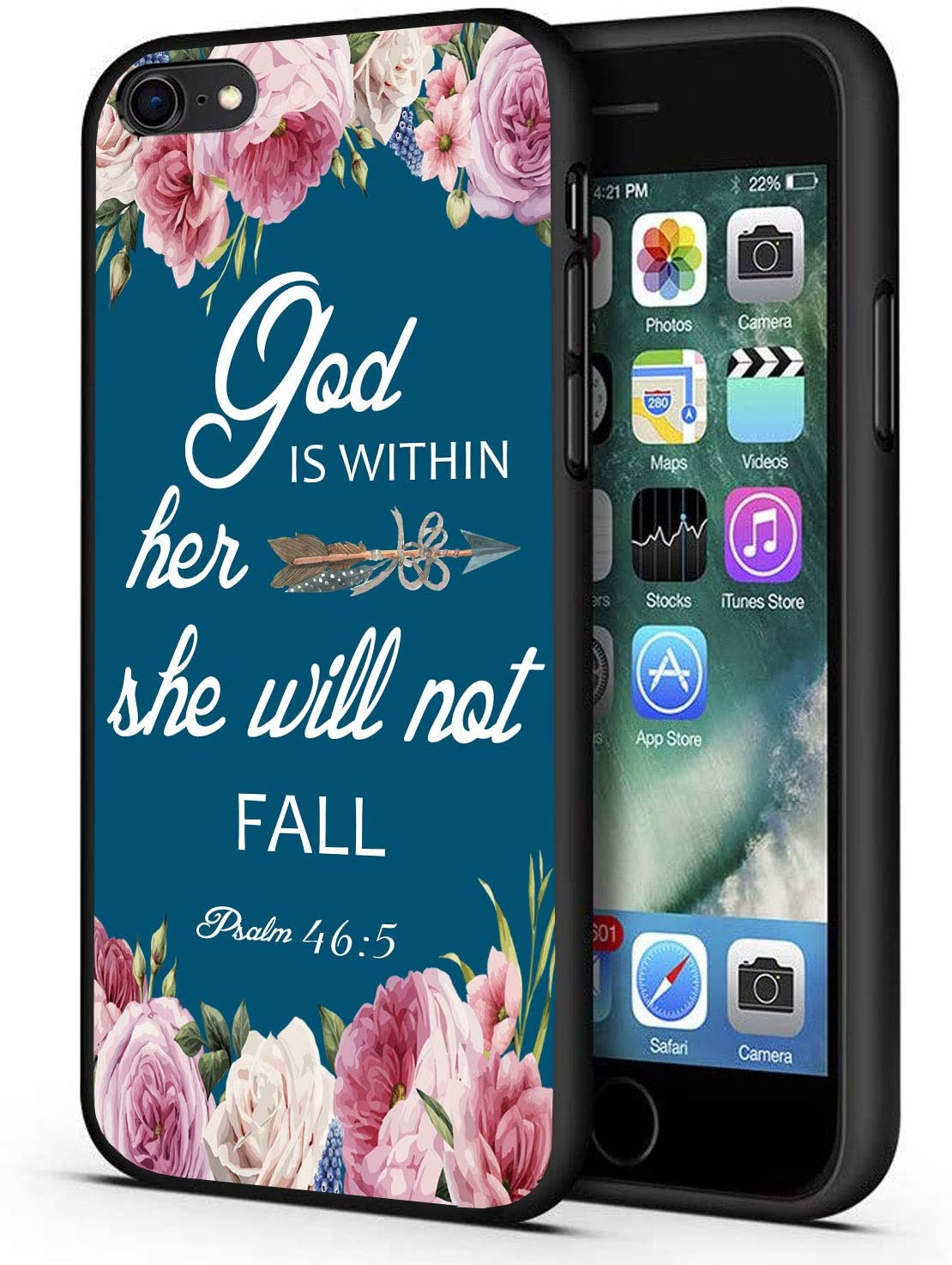 iPhone 6/6s Case,Christian Bible Verses Psalm 46:5 with Pink Flower Slim Anti-Scratch Shockproof Leather Grain Soft TPU Back Protective Cover Case for iPhone 6/6s 4.7