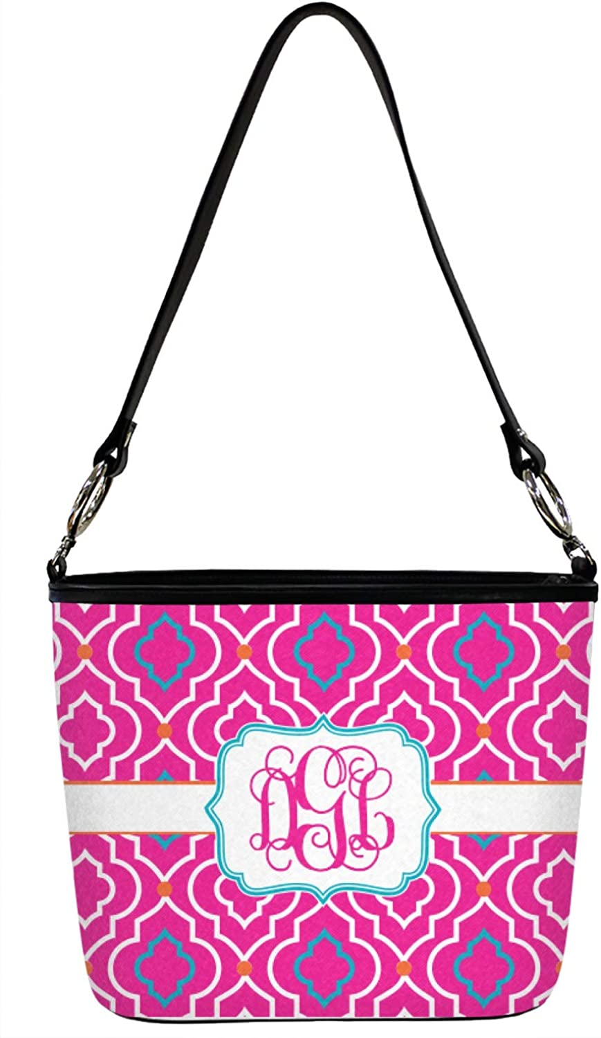 Large Front /& Back Personalized Colorful Trellis Bucket Bag w//Genuine Leather Trim