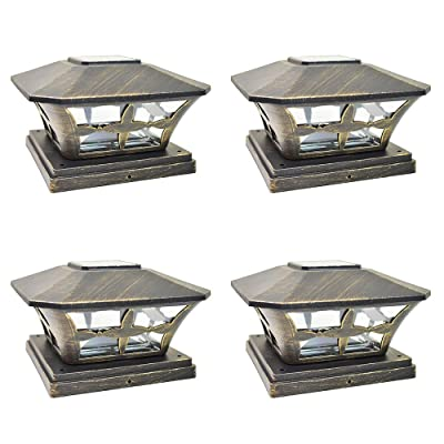 iGlow 4 Pack Vintage Bronze Garden 6 x 6 Solar SMD LED Post Deck Cap Square Fence Light Landscape Lamp PVC Vinyl Wood