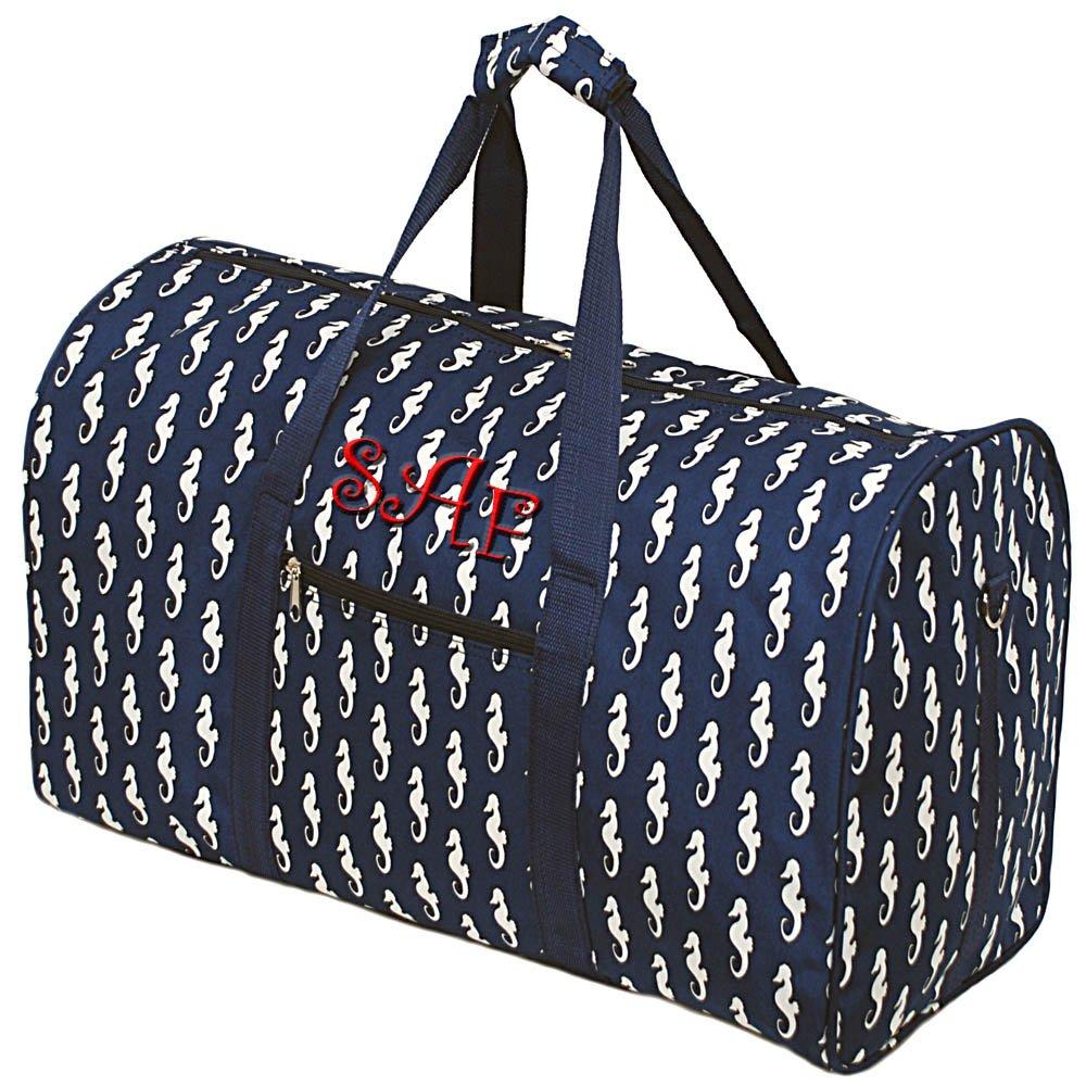 2c000de01fb Amazon.com | Personalized Seahorse Ladies Overnight Duffle Bag Navy ...