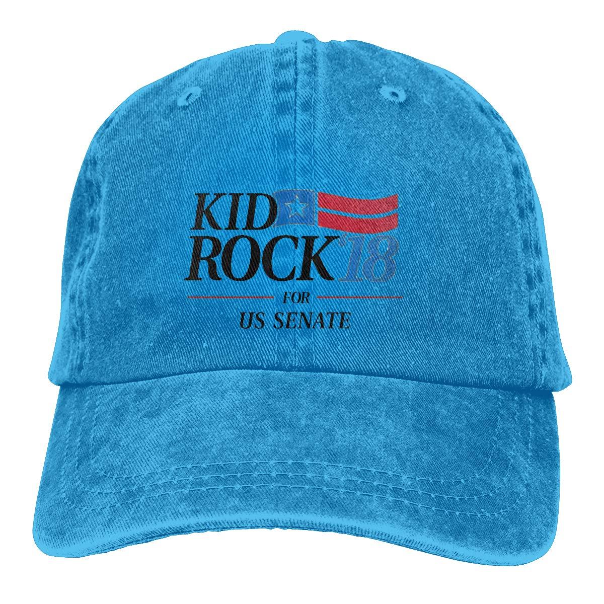 Kid Rock18 for US Senate Unisex Baseball Cap Cotton Denim Stylish Adjustable Sun Hat for Men Women Youth