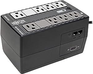 Tripp Lite INTERNET550SER 550VA 300W UPS Desktop Battery Back Up Compact 120V DB9 RJ11 PC, 8 Outlets,Black