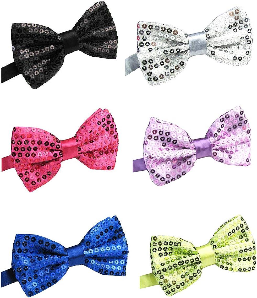 BESMODZ Lot 6 PCS Sequin Satin Bling Bow Tie Pre-tied Wedding Bowtie Set for Men
