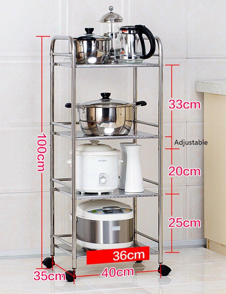 電子レンジラックキッチン用品収納棚4層フロアステンレススチール調味料ラックサイズオプション B07RTZTY4F