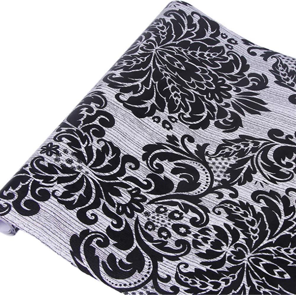 Yija Black Damask Self-Adhesive Shelf Liner Table Dresser Decor Sticker Wallpaper 17.7 Inch by 98 Inch